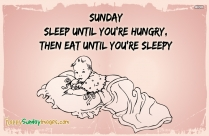 Sunday – Sleep Until You're Hungry, Then Eat Until You're Sleepy